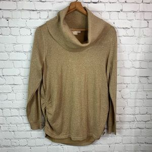 Michael Kors Gold Sparkle TurtleNeck Blouse
